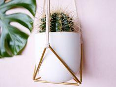 P. S P R I N G S - Plant hanger - Suspension plante - Macramé - Suspension murale - Modern Wall hanging - Laiton - Brass