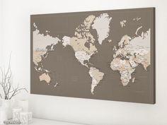 "Americas centered world map with cities, 36x24"" canvas print in earth tones #WorldMapCanvasPrint #AmericasCentered #MapCanvasPrint #TravelCanvasPinboard #WorldMapWithCities #WorldMapCenteredInAmerica #PrintedProduct #AmericasCenteredWorldMap #CottonSecondAnniversaryGiftIdea #WorldMapWithCapitals"