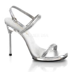 FABULICIOUS CHIC-17 Silver-Clear Stiletto Sandals