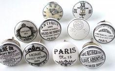 Boutons de meubles et poignées de meubles, de portes et de tiroirs, bouton de meuble et poignée de meuble de porte et de tiroir, patères, en porcelaine, céramique, peints à la main, la boutique :