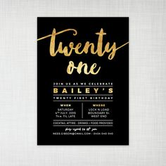 Black and gold or white and gold party invite perfect for a
