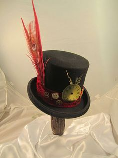 STEAMPUNK TOP HAT, men's felt bell top hat with clock parts, red peacock feather  and clock parts