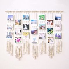 Learn how to make your own macrame photo wall hanging on the Photo Wall Hanging, Hanging Photos, Diy Hanging, Photos On Wall, Wall Hanging Decor, Hanging Polaroids, Hanging Decorations, Photo Wall Art, Diy Wall Art