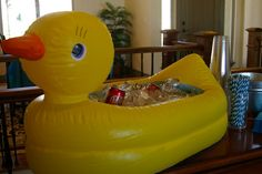 cute Rubber Ducky Party Ideas ~ including using a Rubber Ducky Inflatable Baby Tub for Drinks