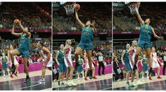 Liz Cambage performed what was thought to be the first dunk ever in women's Olympic basketball as Australia beat Russia to tighten the battle for the quarter-final seedings. Olympic Basketball, Olympic Games, Women's Basketball, Story London, Sports Scores, Latest Sports News, Get Up, Girls Basketball, Stand Up