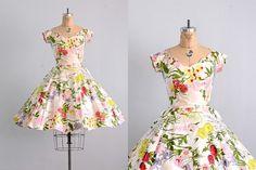 vintage 1950s dress  floral print dress   50s by PickledVintage, $228.00