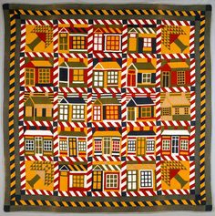vintage Houses and Pine Trees quilt, 1890's, Denver Art Museum