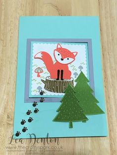 Stampin' Up! Cute Foxy Friends Pop Out Swing Card | #GDP058 Cute Card die cutting fancy fold card Foxy Friends global design project layering squares punch art stampin up |