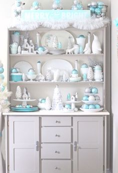 The Scoop - Cedar Hill Farmhouse Turquoise Christmas Decorations dress up this Hutch of white dishes into something spectacular! Aqua Christmas, Silver Christmas Decorations, Coastal Christmas, Modern Christmas, Christmas Fashion, Christmas Colors, All Things Christmas, Christmas Home, Christmas Holidays
