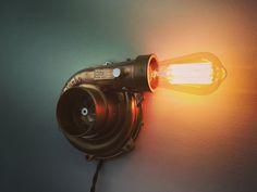 Turbo lamp of Edison. For loft and hi-tech inter . - Turbo lamp of Edison. For loft and hi-tech inter … – Informa - Garage Furniture, Car Part Furniture, Automotive Furniture, Automotive Decor, Custom Furniture, Metal Projects, Welding Projects, Car Parts Decor, Mason Jar Lamp