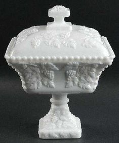 "Westmoreland ""Beaded Grape"" Milk Glass Candy Dish. "" This is the one I saw at an Antiques shop and passed it up.  I need to get this one""  Never second guess yourself."