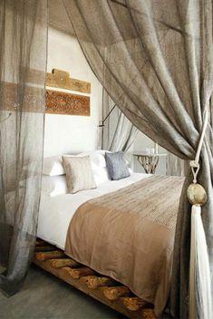 rideau en lin, des rideaux de lit en lin