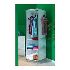 IKEA PS Organizer - white $24.99 Very inexpensive option in lieu of needing an armoire in each bedroom. Could hang a fabric panel on front to tie in with bedding and decor in the room and camouflage it a bit.