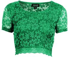 TOPSHOP Lace Crop Tee ($30) ❤ liked on Polyvore featuring tops, t-shirts, crop tops, shirts, blouses, topshop, green, green shirt, lace crop top and crop top