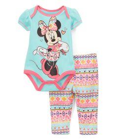 874bd98e154e Bentex Turquoise Geo Minnie Mouse Bodysuit   Leggings - Infant