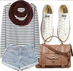 Black and white long sleeved + short shorts + white keds or converse