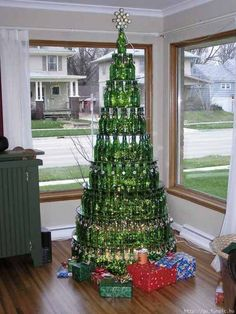 Love this Christmas Tree!!  Now that is something to do with all of those wine bottles.