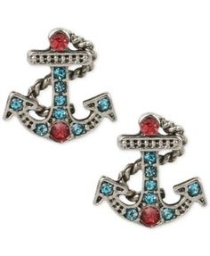 Betsey Johnson Silver-Tone Blue and Pink Crystal Anchor Stud Earrings | macys.com