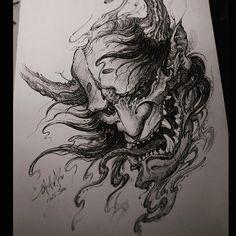 """Ready to print this on a t shirt. What you guys think? Body Art Tattoos, Sleeve Tattoos, Japanese Demon Tattoo, Blackwork, Hanya Tattoo, Oni Tattoo, Oni Mask, Japanese Tattoo Designs, Japan Tattoo"