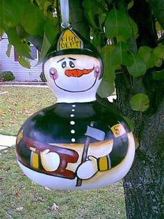 FIREMAN GOURD Cool Fire, Gourd Crafts, Painted Gourds, Gourd Art, Firefighting, Fire Dept, Birdhouse, Outdoor Projects, Snowman