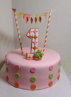 Pink, orange, lime green birthday cake, Sugarnomics Cake Studio Guam