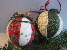 Patchwork karácsonyi gömb karácsonyi színekből, Dekoráció, Karácsonyi, adventi apróságok, Karácsonyfadísz, Ünnepi dekoráció, Meska