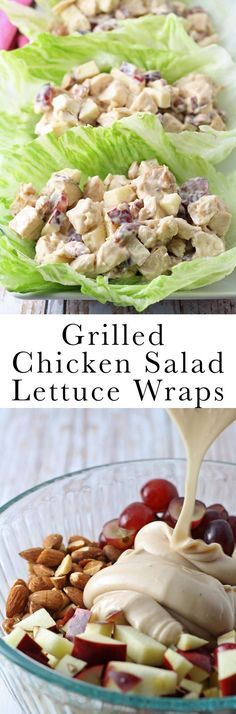 These grilled chicken salad lettuce wraps are a healthy addition to your lunch. … These grilled chicken salad lettuce wraps are a healthy addition to your lunch. Nuts, grapes, apples and chicken are joined by a honey balsamic vinaigrette. Healthy Sauces, Healthy Recipes, Healthy Foods, Healthy Grilled Chicken Recipes, Bariatric Recipes, Diet Foods, Vegetarian Recipes, Lunch Recipes, Cooking Recipes