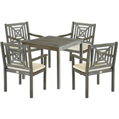 Safavieh Outdoor Living Del Mar Ash Grey Acacia Wood 5-piece Beige... ❤ liked on Polyvore featuring home, outdoors, patio furniture, outdoor patio sets, outdoor table chairs, outdoor table and chairs, 5 pc dining set and 5pc dining table set