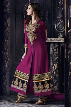 Purple Designer Shraddha Kapoor Party Wear Suit From Skysarees. Churidar, Salwar Kameez, Bollywood Dress, Pakistani Dresses, Indian Dresses, Bollywood Fashion, Latest Anarkali Suits, Wedding Salwar Suits, Costumes Anarkali
