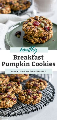 Easy Breakfast Oatmeal Pumpkin Cookies are a great hearty and healthy snack for kids. They're simple Healthy Vegan Breakfast, Healthy Snacks For Kids, Easy Snacks, Healthy Eating, Quick Recipes, Brunch Recipes, Real Food Recipes, Healthy Recipes, Free Recipes