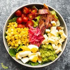 Mexican Cobb salad made with guacamole, pickled onions, and jalapeno havarti cheese is a fun take on everyone's favorite salad! Works great for meal prep and lunch on the go. #video #sponsored #salad #mealprep #sweetpeasandsaffron #instantpot