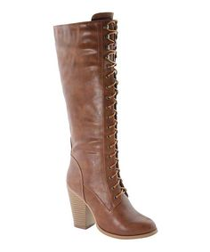 Look at this Anna Shoes Tan Lace-Up Diane Boot on #zulily today!