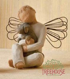 "Willow Tree Summer 2011 New Design by DEMDACO.Message: ""Offering an embrace of comfort and love""This re-introduced piece features this sweet little boy angel hugging his best friend.  This is the only boy figure with wings.  The perfect gift for any mother of a son, and equally important as a healing or remembrance piece.Artist Information: Susan Lordi's art reflects our relationships with people and the world around us. Her keen observation of the human form is further inspired by ballet…"