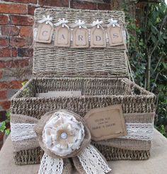 Wedding Card Holder Post Box- Hamper Basket Wedding Gift Card Post Box - Seagrass Hamper by TheIvoryBow on Etsy