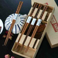 Hand carved natural wood Japanese style chopsticks leaves gift set
