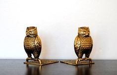 brass bookends - paint my owl candlesticks.