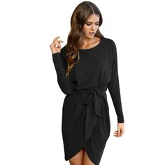 Autumn Bandage Dress Womens Ladies Long Sleeve Loose Standard Casual S - Alfs Fashion
