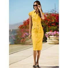 Classically tailored linen dress is your spring and summertime wardrobe essential. Plus Size Dresses, Dresses For Work, Linen Shirt Dress, Wrap Dress, Yellow, Shirts, Clothes, Fashion, Linen Shirts