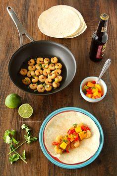 Asian Shrimp Tacos With Mango Salsa- super quick, super easy