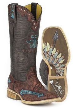 Tin Haul WOmen's Indian Arrowhead Headdress Cowgirl Boots - HeadWest Outfitters
