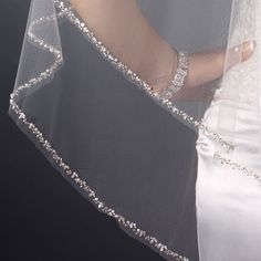 Glistening  Two Layer Beaded Edge Fingertip Wedding Veil - Affordable Elegance Bridal -