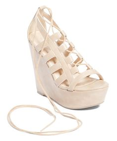 Loving this Natural Lace-Up Platform Sandal on #zulily! #zulilyfinds
