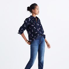 A pretty, floaty peasant top with delicate pintucks at the neck. In a vintage-inspired floral, this gauze popover is so easy for this what-season-is-it-anyway time.