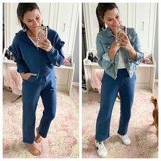 Dressy Casual Outfits, Business Casual Outfits For Women, Comfortable Outfits, Denim Outfits, Distressed Jean Jacket, Purple Pants, Jackets For Women, Clothes For Women, Basic Tees