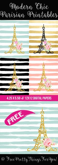 Scrapbook-Modern Chic Parisian Printables 12x12 and 4.25x5.5 - Free Pretty Things For You