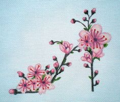 hand painted Cherry Blossom Slipper Needlepoint canvas by colors1