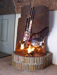 Offener Kamin | Kunstwerk aus Rost