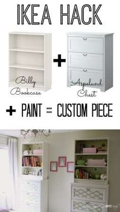 This is AWESOME!  Using basic, inexpensive Ikea furniture and paint and stack them for the look of a totally custom piece!