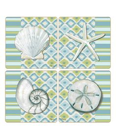 Love this Blue & Green Watercolors Coaster - Set of Four on #zulily! #zulilyfinds