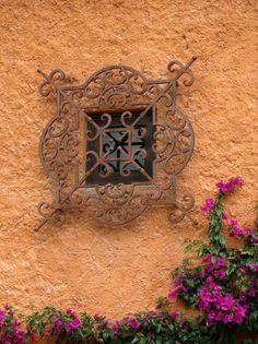 Like the iron covering the window with the contrast of the color of the building and flowers